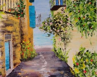 "Painting ""Mediterranean alley"" framed palette knife oil painting"