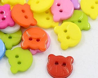20 buttons bear head 14 mm multicolored sewing notions new scrapbooking