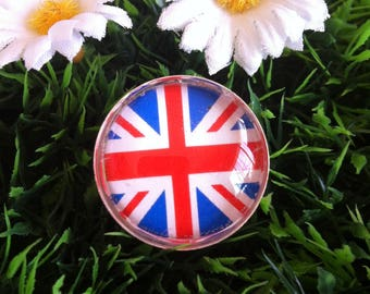 """english flag"" silver plated Adjustable ring"