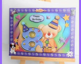 "Teddy bear birthday card ""8"""