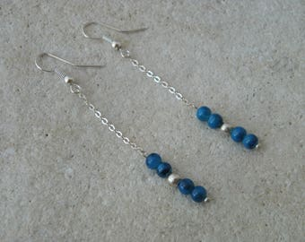 Chain and blue beads earrings