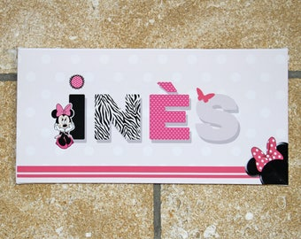Name personalized on canvas theme Minnie