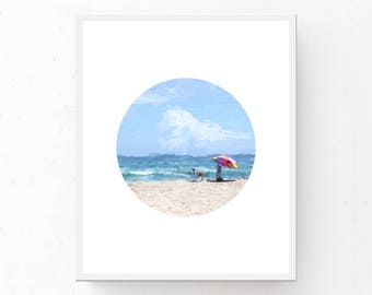 Beach Printable, Coastal Wall Art, Circle Printable, Beach Art Print, Coastal Print, Digital Download, Coastal Printable, Coastal Art Print