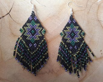 Pair of peyote stitch style Native American earrings