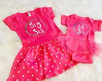 Big Sister Little SIster Dress Set of 2- Heart Wreath- Big Sis Polka Dot Pink Dress and Pink Infant Tutu Bodysuit