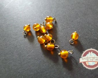 10 round glass beads transparent orange 4mm charms