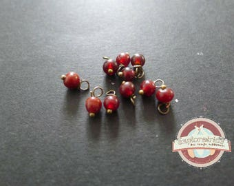 10 Brown Burgundy charms 4mm glass pearls