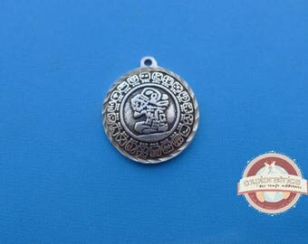 round sequin Sun silver Mayan calendar charm 20mm