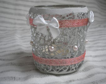 SHABBY PINK CRACKLE GLASS CANDLE