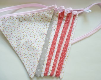 Garland of 9 flags in pink, white decor nursery