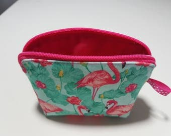 "Wallet trendy and stylish fabric ""Flamingo"", 11 cm x 8 cm x 3 cm at the base"