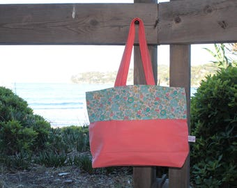 Turquoise linen and Liberty Betsy Tote * (bag)