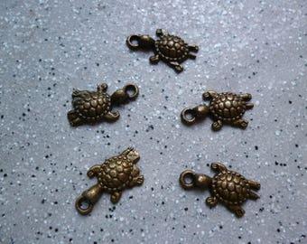 5 cute little turtles in antique bronze
