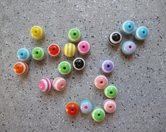 30 round multicolored beads plastic 8 mm approx.