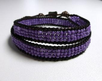 Purple beaded wrap bracelet