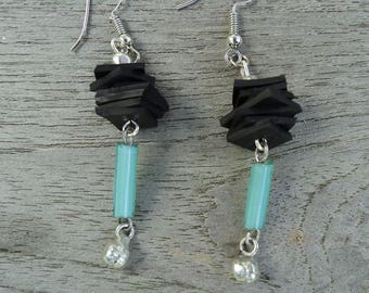 Bicycle inner and blue glass beads and Silver earrings