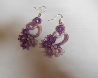 cotton tatted earring