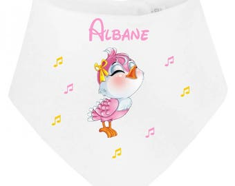 Little bird personalized with name baby bandana bib