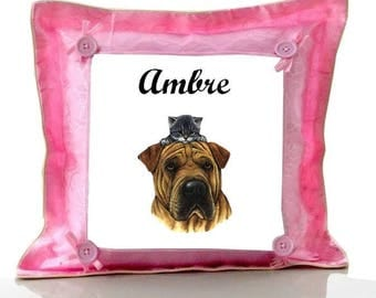Cushion Pink dog and cat personalized with name
