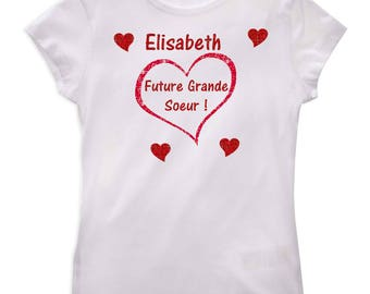 Tee shirt Future big sister girl personalized with name