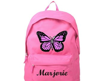 Backpack pink butterfly personalized with name