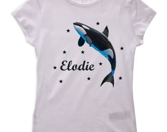 Girl whale personalized with name t-shirt