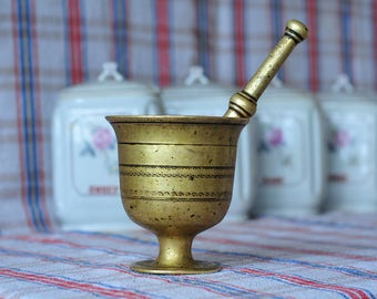 Antique Brass Pharmacy Mortar and Pestle, Cast Brass Apothecary Mortar and Pestle