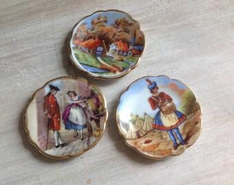 Set of 3 miniature antique porcelain Limoges