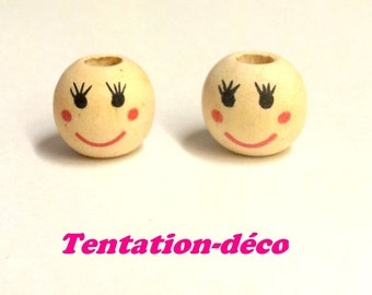 Set of 10 wooden beads - painted face - 13 mm