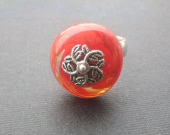 Red Ring spinning - Lampwork Glass