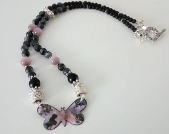 Butterfly Black Lace - enameled copper necklace