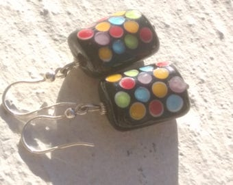 Harlequin earrings - Murano glass and silver