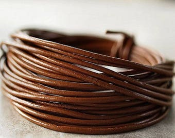 1 meter of leather cord genuine 2mm chocolate round