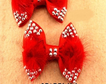 2 lovely red bow and matching soft fur 65 * 55mm
