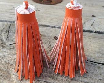 2 dark orange color 60mm imitation leather tassels