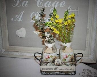 Iron basket and two customized bottles