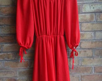 Vintage red ruffle neck dress