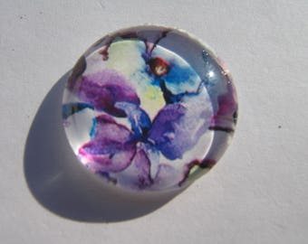 Cabochon 25 mm with a picture of flowers