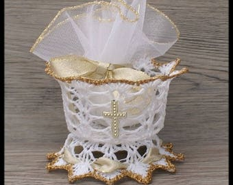 """10 candy dish in the shape """"Chalice"""" for communion white and gold with Gold Ribbon"""
