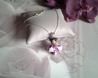 Doll pendant chain necklace