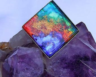 """Square ring adjustable silver metal topped with a cabochon handmade """"fusion"""""""