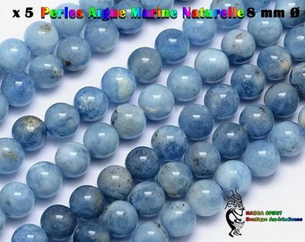 5 round beads Native American 8 mm natural aquamarine