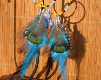 dangle beaded silver plated Native American seed glass rooster and pheasant feathers