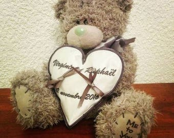 Ring pillow with a bear pillow ring bearer wedding theme children's kids me to you