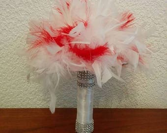 Bridal bouquet white and red feather ball