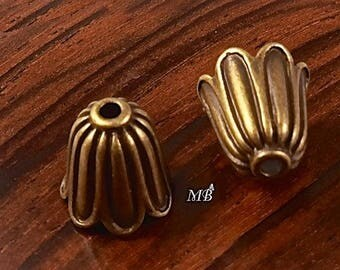 x 10 caps 10X10mm brass Tulip bead caps