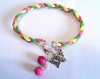 tricolor braided suede bracelet and charm