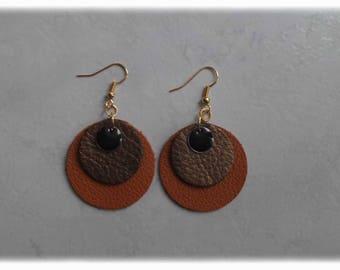Earrings leather-caramel/gold/sequins earrings enamel black