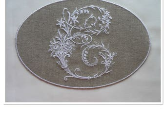 """VICTORIAN Monogram Letter """"E"""" in frame embroidered on linen canvas"""