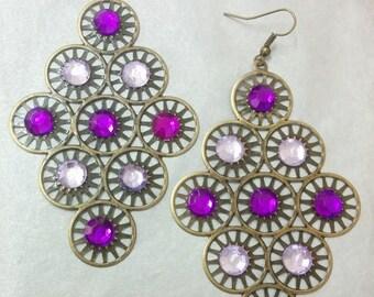 Purple and purple earrings